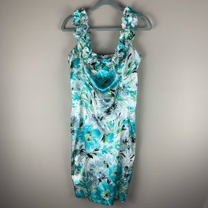 Dress Barn Turquoise Floral Formal Dress size 8